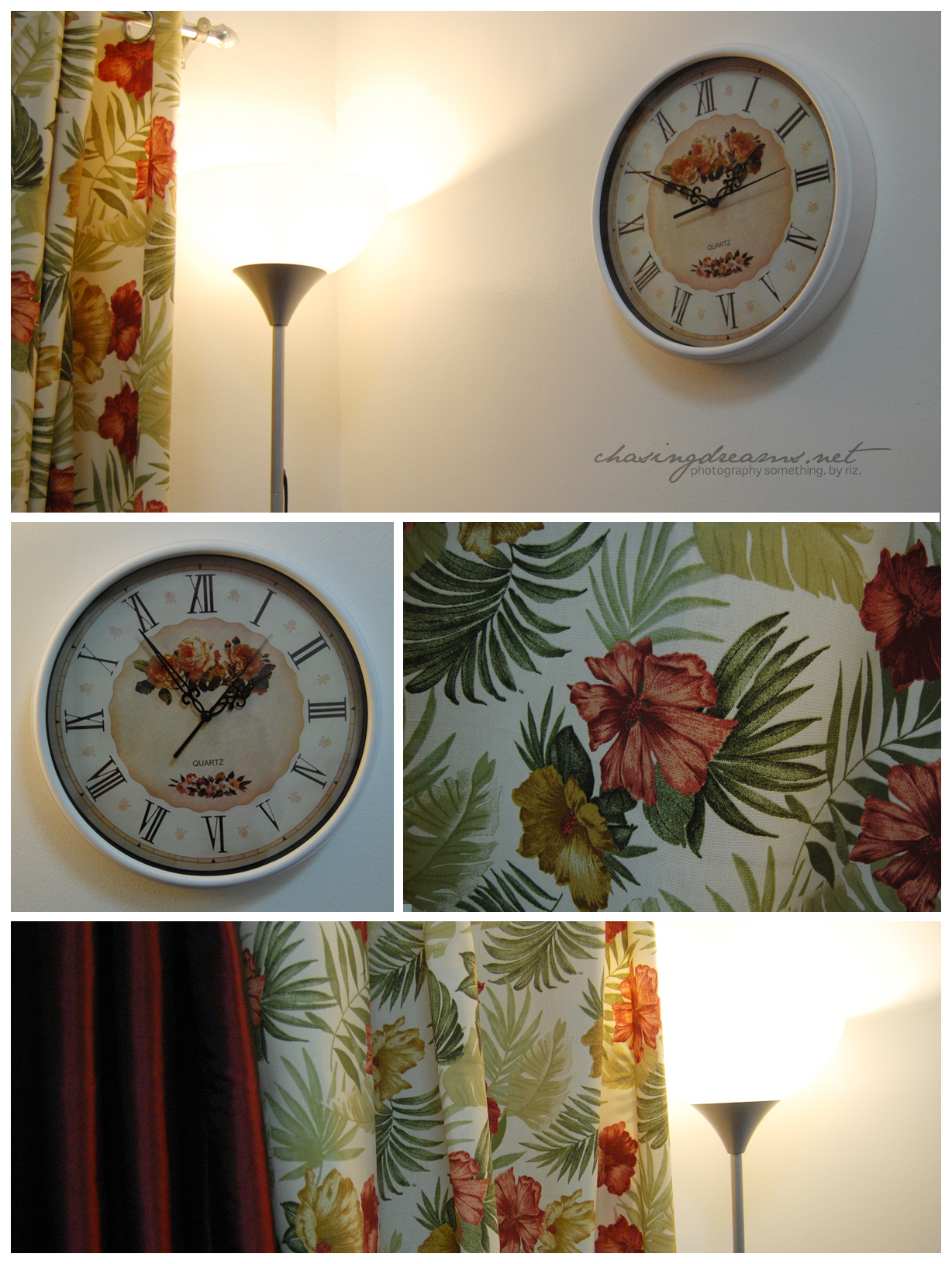 Vintage-y Curtains, Wall Clock