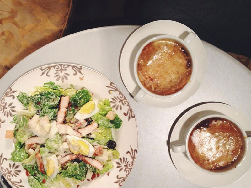 Chicken Salad and French Onion Soup by La Creperie