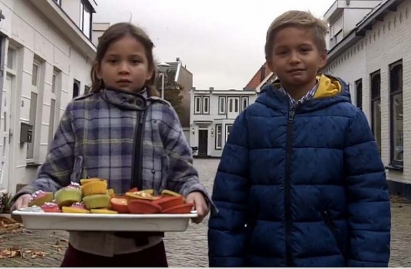 Half-Filipino/Half-Dutch kids selling cupcakes to raise relief funds