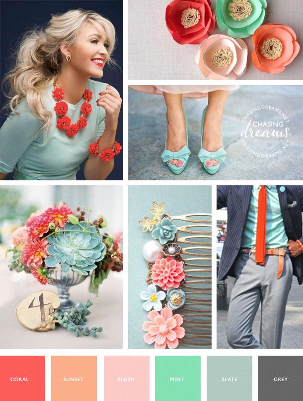 Coral, Mint, Blush, Grey